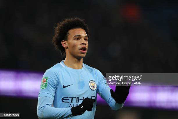 Leroy Sane of Manchester City looks on during the Carabao Cup SemiFinal first leg match between Manchester City and Bristol City at Etihad Stadium on...