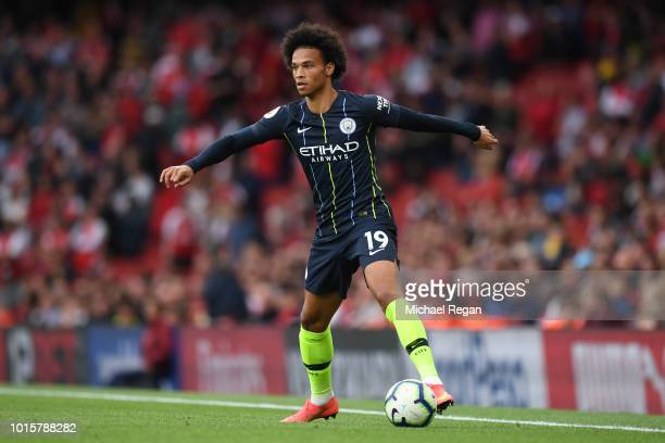 Leroy Sane of Manchester City looks on during the Premier League match between Arsenal FC and Manchester City at Emirates Stadium on August 12 2018...