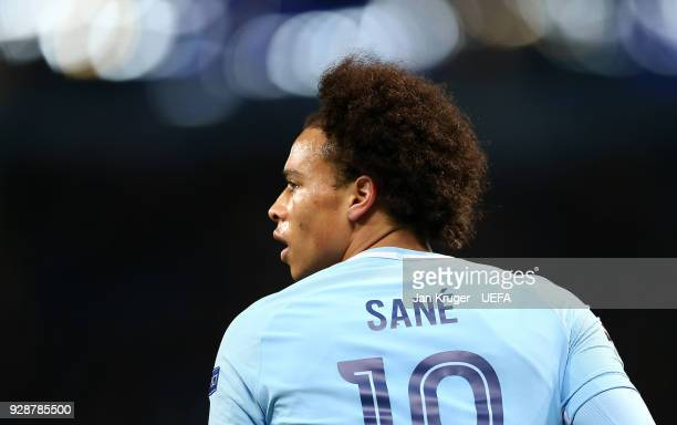 Leroy Sane of Manchester City looks on during the UEFA Champions League Round of 16 Second Leg match between Manchester City and FC Basel at Etihad...