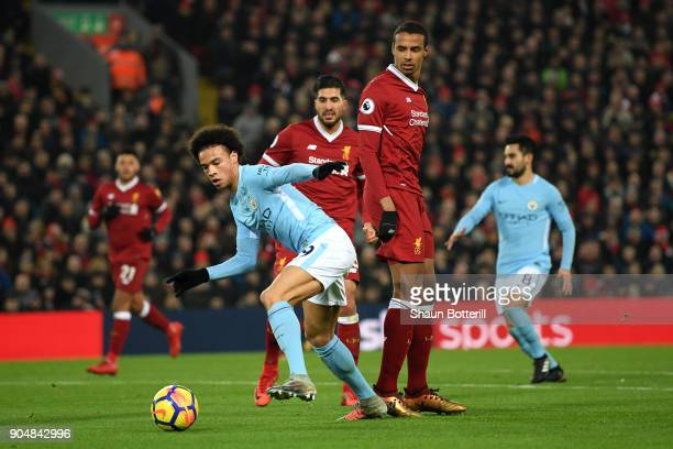 Leroy Sane of Manchester City on his way to score the first Manchester City goal during the Premier League match between Liverpool and Manchester...