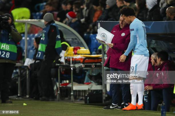 Leroy Sane of Manchester City prepares to come on as a substitute during the UEFA Champions League Round of 16 First Leg match between FC Basel and...