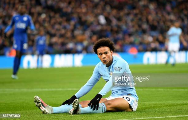 Leroy Sane of Manchester City reacts during the Premier League match between Leicester City and Manchester City at The King Power Stadium on November...