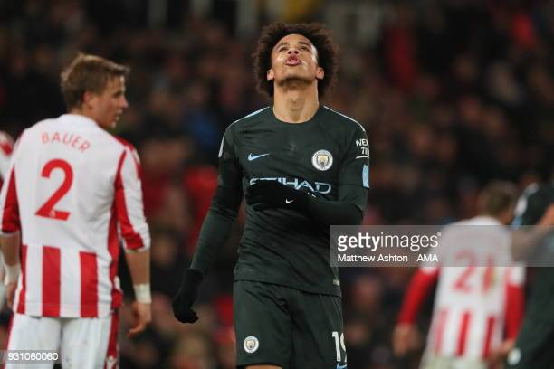 Leroy Sane of Manchester City reacts during the Premier League match between Stoke City and Manchester City at Bet365 Stadium on March 12 2018 in...