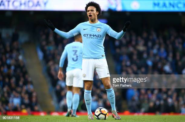 Leroy Sane of Manchester City reacts during the The Emirates FA Cup Third Round match between Manchester City and Burnley at Etihad Stadium on...