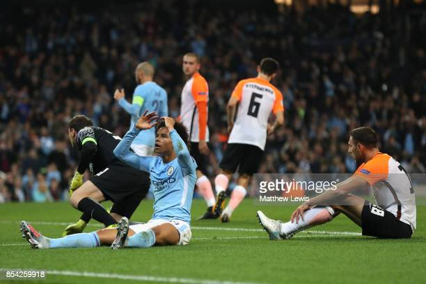 Leroy Sane of Manchester City reacts during the UEFA Champions League Group F match between Manchester City and Shakhtar Donetsk at Etihad Stadium on...