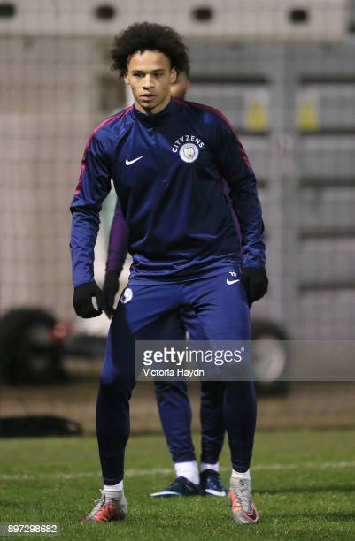 Leroy Sane of Manchester City reacts during training at Manchester City Football Academy on December 22 2017 in Manchester England