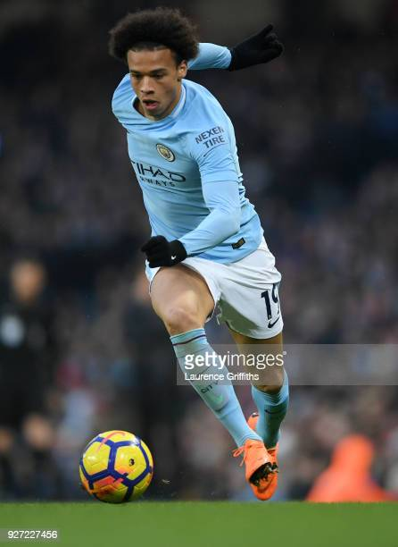 Leroy Sane of Manchester City runs with the ball during the Premier League match between Manchester City and Chelsea at Etihad Stadium on March 4...