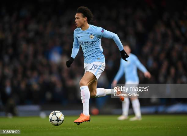 Leroy Sane of Manchester City runs with the ball during the UEFA Champions League Round of 16 Second Leg match between Manchester City and FC Basel...