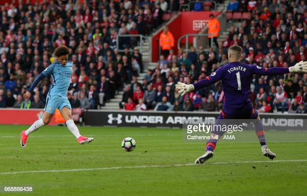Leroy Sane of Manchester City scores a goal to make it 02 during the Premier League match between Southampton and Manchester City at St Mary's...