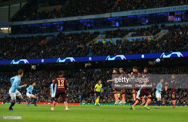 Leroy Sane of Manchester City scores his goal from a free kick during the UEFA Champions League Group F match between Manchester City and TSG 1899...