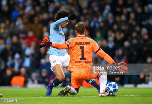 Leroy Sane of Manchester City scores his second goal past Oliver Baumann of TSG 1899 Hoffenheim during the UEFA Champions League Group F match...