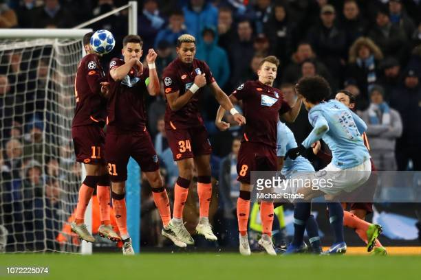 Leroy Sane of Manchester City scores his sides first goal during the UEFA Champions League Group F match between Manchester City and TSG 1899...