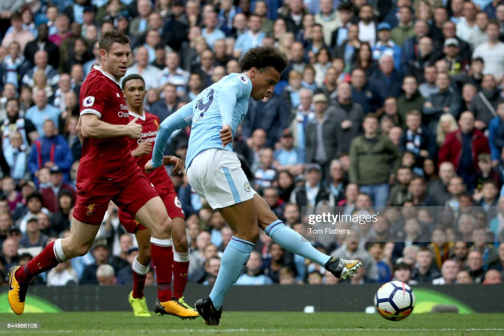 Leroy Sane of Manchester City scores his sides fourth goal during the Premier League match between Manchester City and Liverpool at Etihad Stadium on September 9, 2017 in Manchester, England.