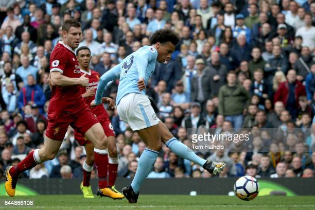 Leroy Sane of Manchester City scores his sides fourth goal during the Premier League match between Manchester City and Liverpool at Etihad Stadium on...