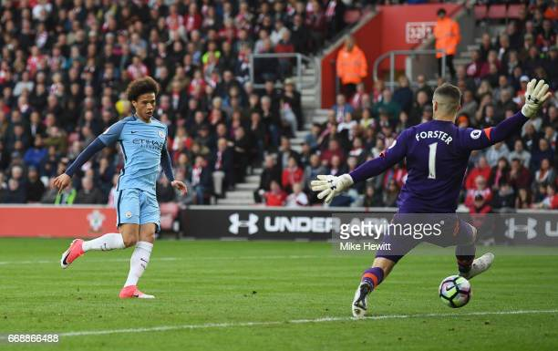 Leroy Sane of Manchester City scores his sides second goal past Fraser Forster of Southampton during the Premier League match between Southampton and...