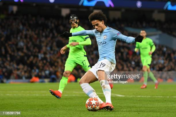 Leroy Sane of Manchester City scores his sides third goal during the UEFA Champions League Round of 16 Second Leg match between Manchester City v FC...