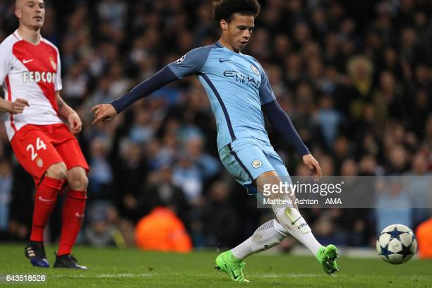 Leroy Sane of Manchester City scores his team's fifth goal to make the score 53 during the UEFA Champions League Round of 16 first leg match between...