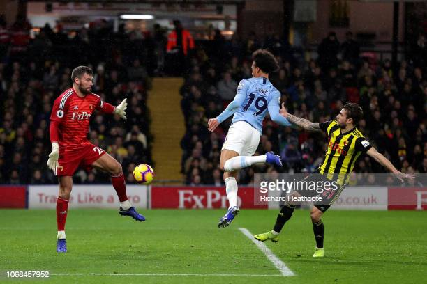 Leroy Sane of Manchester City scores his team's first goal during the Premier League match between Watford FC and Manchester City at Vicarage Road on...