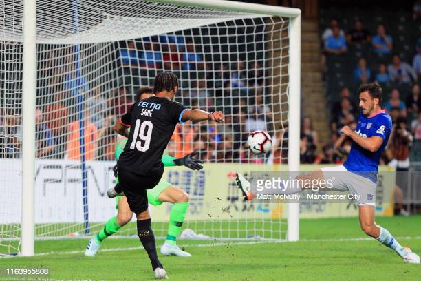 Leroy Sane of Manchester City scores his team's fourth goal during the Pre-Season friendly match between Kitchee and Manchester City at the Hong Kong...