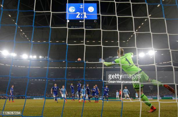 Leroy Sane of Manchester City scores his team's second goal during the UEFA Champions League Round of 16 First Leg match between FC Schalke 04 and...