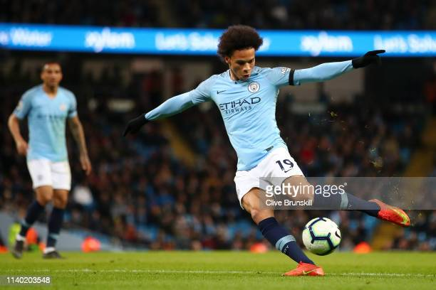 Leroy Sane of Manchester City scores his team's second goal during the Premier League match between Manchester City and Cardiff City at Etihad...