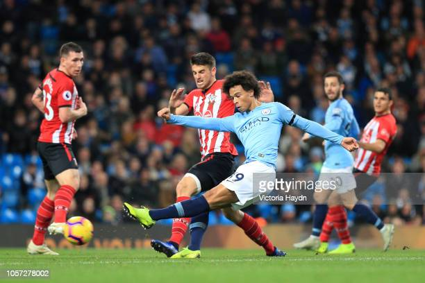 Leroy Sane of Manchester City scores his team's sixth goal during the Premier League match between Manchester City and Southampton FC at Etihad...