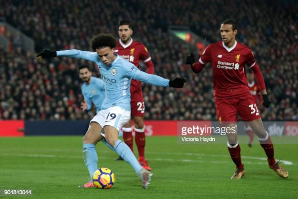 Leroy Sane of Manchester City scores the first Manchester City goal during the Premier League match between Liverpool and Manchester City at Anfield...