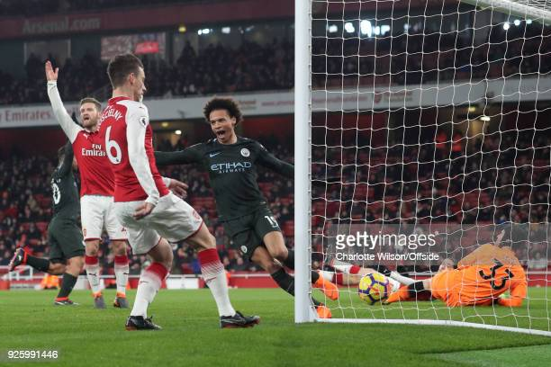 Leroy Sane of Manchester City scores their 3rd goal during the Premier League match between Arsenal and Manchester City at Emirates Stadium on March...
