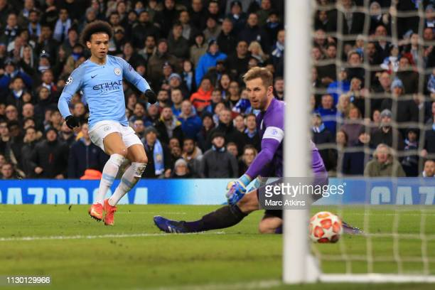 Leroy Sane of Manchester City scores their 3rd goal during the UEFA Champions League Round of 16 Second Leg match between Manchester City v FC...
