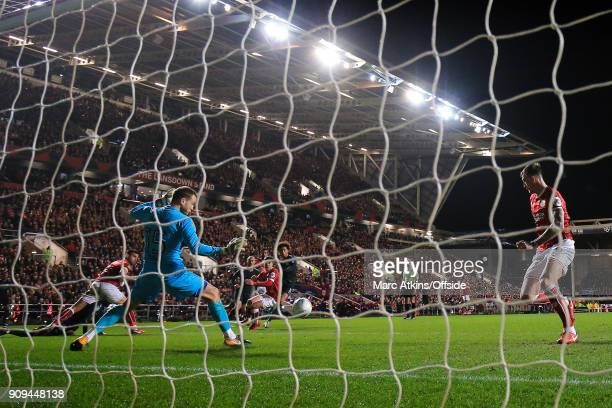 Leroy Sane of Manchester City scores their first goal during the Carabao Cup SemiFinal 2nd leg match between Bristol City and Manchester City at...