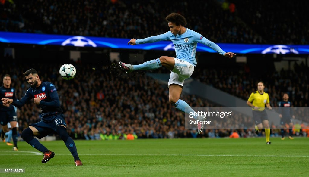 Leroy Sane of Manchester City shoots at goal during the UEFA Champions League group F match between Manchester City and SSC Napoli at Etihad Stadium on October 17, 2017 in Manchester, United Kingdom.