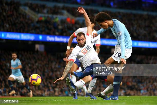 Leroy Sane of Manchester City shoots during the Premier League match between Huddersfield Town and Brighton Hove Albion at John Smith's Stadium on...