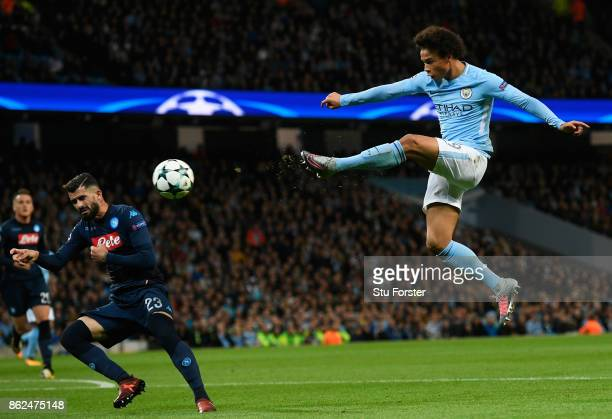 Leroy Sane of Manchester City shoots during the UEFA Champions League group F match between Manchester City and SSC Napoli at Etihad Stadium on...