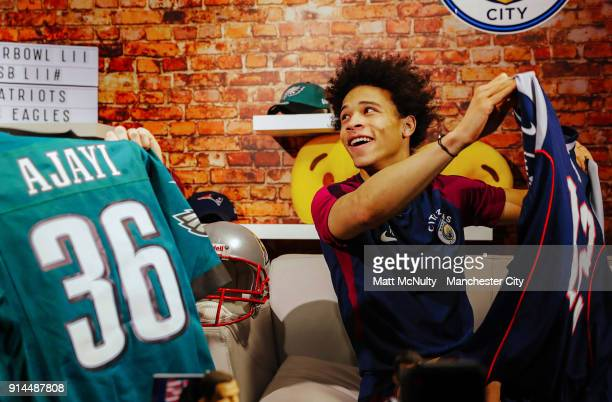 Leroy Sane of Manchester City takes part in a Super Bowl player appearance at Manchester City Football Academy on February 2 2018 in Manchester...