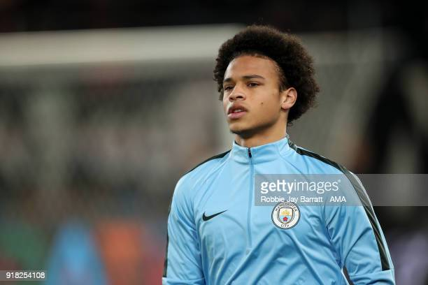 Leroy Sane of Manchester City warms up prior to the UEFA Champions League Round of 16 First Leg match between FC Basel and Manchester City at St...