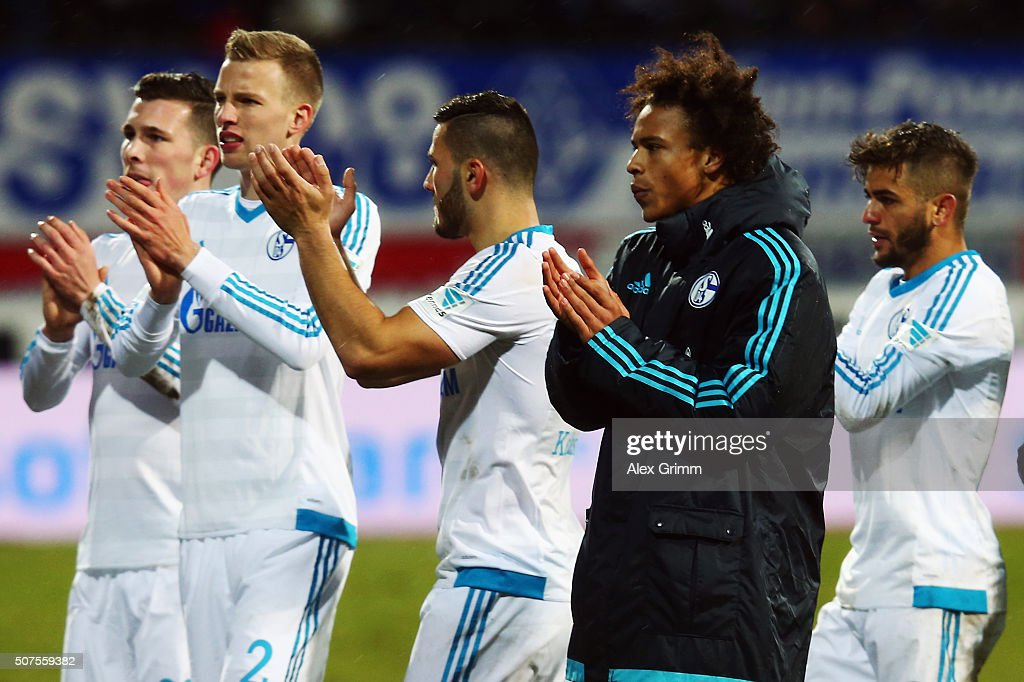 Leroy Sane of Schalke and team mates celebrate after the Bundesliga match between SV Darmstadt 98 and FC Schalke 04 at Merck-Stadion am Boellenfalltor on January 30, 2016 in Darmstadt, Germany.