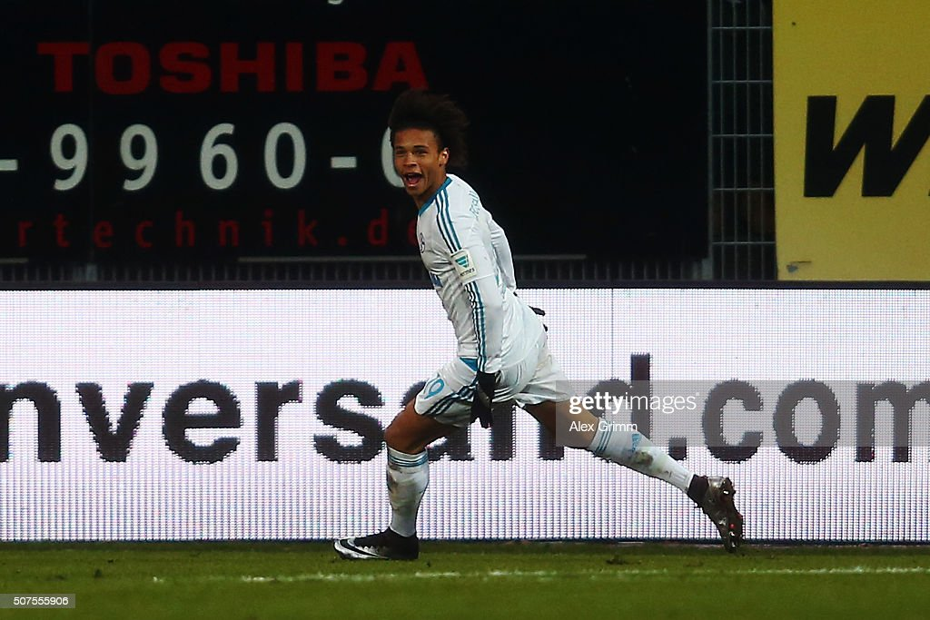 Leroy Sane of Schalke celebrates his team's second goal during the Bundesliga match between SV Darmstadt 98 and FC Schalke 04 at Merck-Stadion am Boellenfalltor on January 30, 2016 in Darmstadt, Germany.