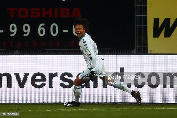 Leroy Sane of Schalke celebrates his team's second goal during the Bundesliga match between SV Darmstadt 98 and FC Schalke 04 at MerckStadion am...