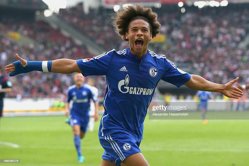 Leroy Sane of Schalke celebrates scoring the opening goal during the Bundesliga match between VfB Stuttgart and FC Schalke 04 at Mercedes-Benz Arena on September 20, 2015 in Stuttgart, Germany.