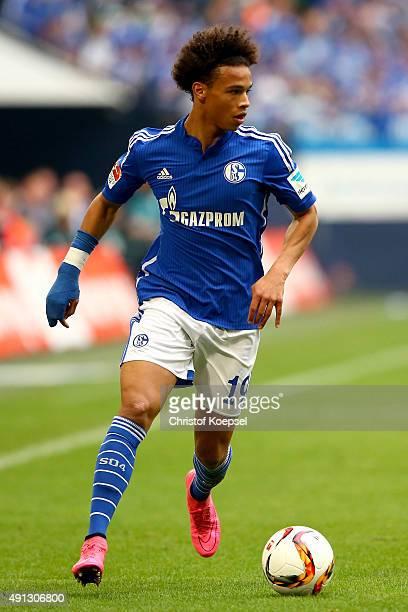 Leroy Sane of Schalke runs with the ball during the Bundesliga match between FC Schalke 04 and 1 FC Koeln at VeltinsArena on October 4 2015 in...