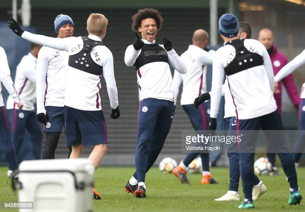Leroy Sane reacts during a training session at Manchester City Football Academy on April 13 2018 in Manchester England