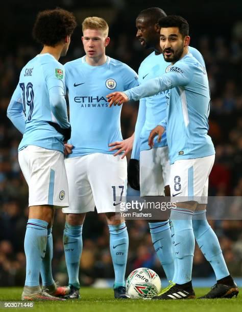 Leroy Sane Yaya Toure Kevin De Bruyne and Ilkay Gundogan of Manchester City during the Carabao Cup SemiFinal First Leg match between Manchester City...