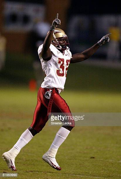 Leroy Smith of the Florida State Seminoles celebrates after stopping the Wake Forest Demon Deacons during their game at Groves Stadium on October 23...