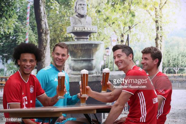 Lery Sane of FC Bayern Muenchen attends with his team mates Manuel Neuer Robert Lewandowski and Thomas Müller the FC Bayern Muenchen and Paulaner...