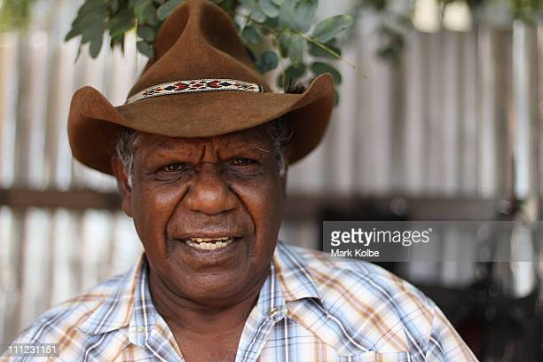 Les a local aboriginal elder poses on March 25 2011 in Longreach Australia Queensland recently suffered a series of extreme floods from December 2010...