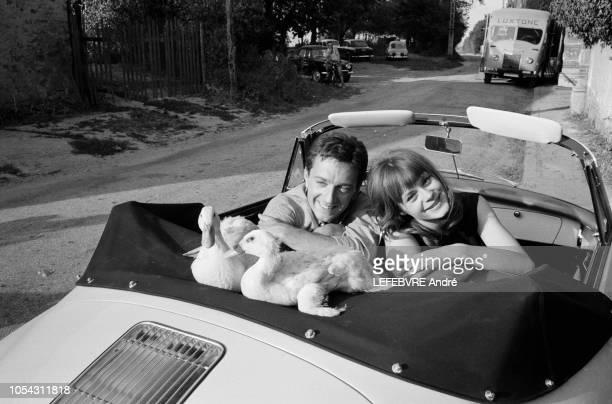 Les acteurs Françoise DORLEAC et JeanPierre CASSEL adoptés par un couple de canards sur le tournage du film 'La Gamberge' de Norbert Carbonnaux Août...