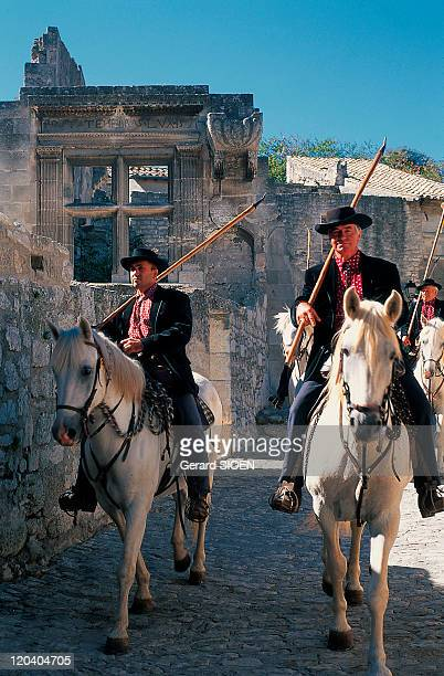 Les Alpilles the herdsman in Baux De Provence France The small Alps the herdsman left their region of Camargue for a wedding to accompany the...