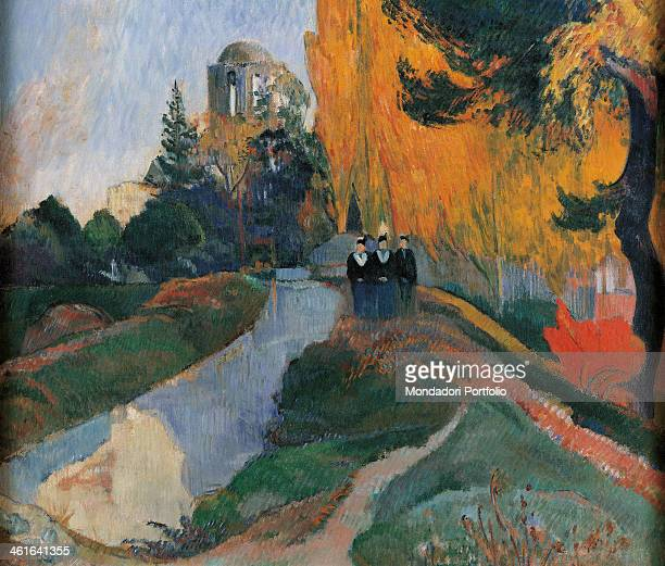 Les Alyscamps, by Paul Gauguin 19th Century, oil on canvas, 91 x 72 cm. France, Paris, Musée d'Orsay. Detail. Perspective of an avenue of the...