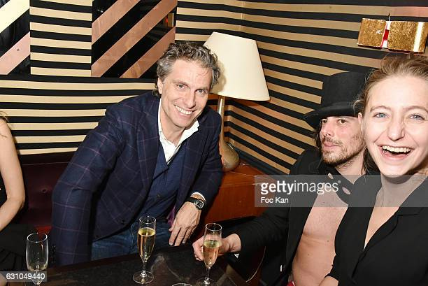 Les Bains de Paris owner Jean Pierre Marois and DJ/performer Gwenael Billaud attend the 'Nuit Bruce Nauman' screening party and performance of Amelie...