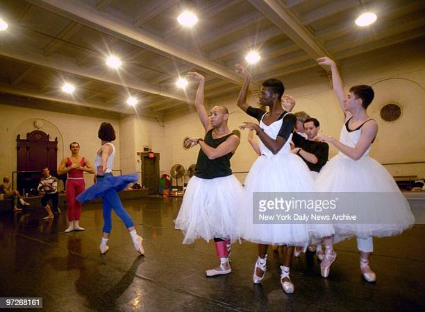 Les Ballets Trockadero de Monte Carlo and Comic Dance Troupe rehearsing at City Center at 130 W56th St